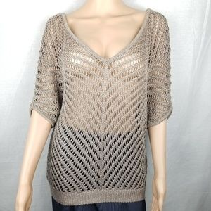 Express open knit taupe sweater size medium